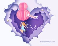 Card for 8 March womens day. Woman on teeterboard. Card for 8 March womens day. Woman on swing. Abstract background with text and flowers .Vector illustration vector illustration