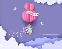 Card for 8 March womens day. Woman on teeterboard vector illustration