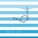 Card with marine stripes. And crab Stock Photos