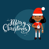 Card Marry Christmas, girl with a mug, woman character in New Year costume. On a blue background. Vector flat cartoon illustration Royalty Free Stock Images