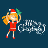 Card Marry Christmas, girl, woman character in New Year costume on a blue background. Vector flat cartoon illustration Royalty Free Illustration