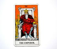 The Emperor Tarot Card  Power Leader Ruler King  Boss. This card is about Masculinity Head Not Heart Facts Hard Facts Scientific Evidence Severity Rigidity Stock Photos