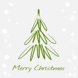 Card med det gröna julträdet Royaltyfria Bilder