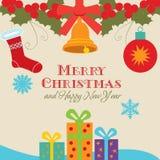 Card med julsymboler royaltyfri illustrationer
