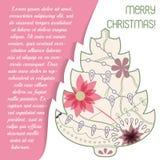 Card med julträdet på papper och förlägga för text Arkivfoton