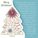 Card med julträdet på papper och förlägga för text Royaltyfri Fotografi
