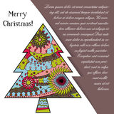 Card med julträdet på papper och förlägga för text Fotografering för Bildbyråer