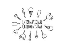 Card med sötsaktecknad filmgodisar, klubbor och handbokstävertext - lyckliga barns dag Vektordesign för vykort Royaltyfri Foto