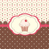 Card menu with cupcake and polka dots background Royalty Free Stock Photo
