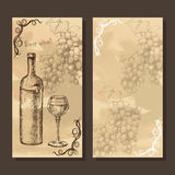Card, menu with sketch grapes, wine Royalty Free Stock Image