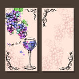 Card, menu of sketch grapes, wine, bottle Stock Photos