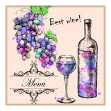 Card menu with sketch grapes, wine Royalty Free Stock Image