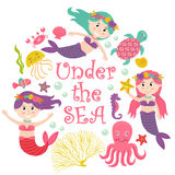 Card with mermaid under the sea vector illustration