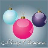 Card Merry Christmas Ball. Christmas card colot purple pink cian stock illustration