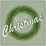 Card Merry Christmas fir wreath. Vector Royalty Free Stock Photos