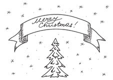 Card -  merry christmas -  hand drawing - eps Royalty Free Stock Photo