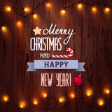 Card Merry Christmas and Happy New Year Stock Image