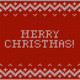Card of Merry Christmas 2015 with knitted texture Stock Photos