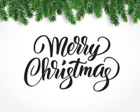 Card with Merry christmas text and fir-tree branches, vector illustration. Merry christmas card with text and christmas tree border, vector illustration Royalty Free Stock Photos