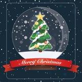Card Merry Christmas tree Glass Ball vector illustration