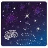 Card Merry Christmas , white tree and fireworks royalty free illustration
