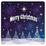 Card Merry Christmas , white tree and fireworks vector illustration
