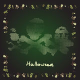 Card Merry Halloween bones theme in shades of green Royalty Free Stock Photo