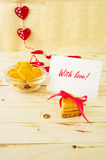 Card with Message With Love in the Letter and Cookies Stock Photography