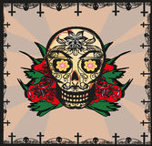 Card with mexican skull Stock Photography