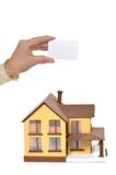 Card at miniature house Royalty Free Stock Photography
