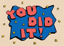 Card in a minimal cartoonish style, vector templates. You did it. Stock Image
