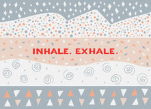 Card in a minimal style, vector templates. Inhale. Exhale. Card in a minimal style with lettering and speech bubble, vector templates. Inhale. Exhale Stock Photo