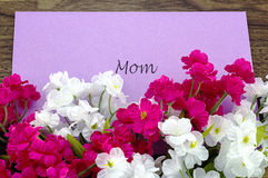Card for Mom with some pink and white flowers Stock Image