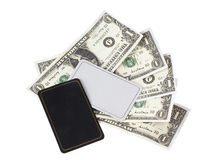 Card and money. Color photo of a card and paper money Royalty Free Stock Photos