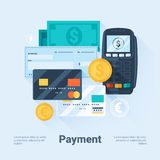 Card, Money, Coins and Cheque. Payment Methods Concept. Flat Style with Long Shadows. Clean Design. Stock Images