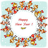 Card 2016 monkey circle. 2016  New Year's card.  monkey in  circle Royalty Free Stock Image