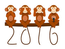 Card with Monkey for New Year 2016. New Year greeting card with no see no hear no speak Monkey for year 2016 Stock Photo