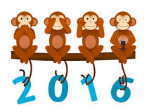 Card with Monkey for New Year 2016. New Year greeting card with no see no hear no speak Monkey for year 2016 Vector Illustration
