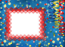 Card with multicolor streamers to holiday Stock Image