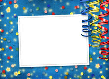 Card with multicolor streamers to holiday. On the abstract background Royalty Free Stock Photos