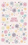 Card with multicolored snowflakes. Hand drawn design for Christmas and New Year greeting cards, fabric, wrapping paper, invitation, stationery. Grunge seamless Stock Photo