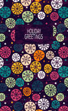 Card with multicolored snowflakes. Hand drawn design for Christmas and New Year greeting cards, fabric, wrapping paper, invitation, stationery. Seamless Royalty Free Stock Images