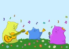 Card. Musical family. Family of animals-pillows: the father, mother and the son give a musical concert Royalty Free Stock Photo
