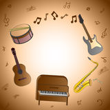 Card with musical instruments Stock Photography