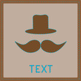 Card with mustache and hat. Royalty Free Stock Images