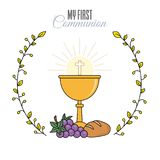 Card my first communion invitation. Chalice with bread and grapes. vector isolated Royalty Free Stock Photos