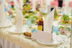 Card and Napkin on Plate Stock Photos