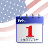 Card  of the national day of freedom of America in the form of a calendar. Freedom Day in America, a calendar with the date of February 1, isolated against the Stock Photo