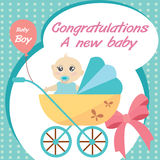 Card new born baby boy. Colorflu card new born baby boy stock illustration