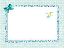 Card for new born male. With stars moon and blue tassel vector illustration